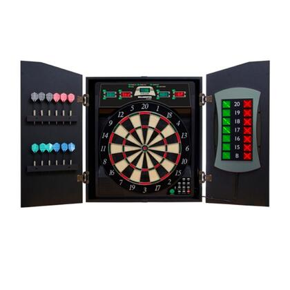 CMX5000 Cricket Maxx 5.0 Dartboard Cabinet and Board Set with Six Steel Tip Darts  Six Soft Tip Darts  Extra Tips  and AC