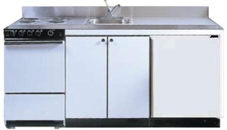 ROE9Y69 69 inch  Compact Kitchen with 4 Electric Coil Burners  Removable Refrigerator  Electric Oven  Backguard  Stainless Steel Countertop  and Sink: