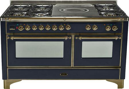 "UM-150-SDMP-N-Y 60"""" Dual Fuel Range with Oiled Bronze Trim  French Top  6 Semi-Sealed Burners  Multi-Function European Convection Oven  Electric Oven"" 811982"