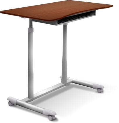 200 Collection 205-CH 30.5 inch  - 42.5 inch  Mobile Stand Up Desk with Adjustable Height  Wire Storage Shelf  Lacquered Steel Base  Vacuumed Sealed MDF and Ergonomic