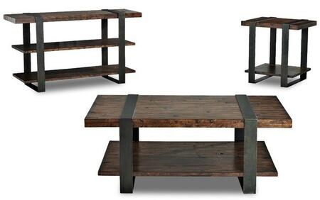 Timber Forge 444819CEC 3 PC Living Room Table Sets with Cocktail Table + End Table + Console in Charred Whiskey-Barrel