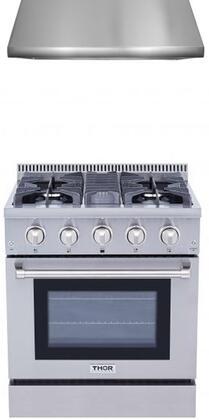 2-Piece Stainless Steel Kitchen Package with HRD4803U 48 inch  Dual Fuel Freestanding Range  and HRH3006U 48 inch  Under Cabinet Range