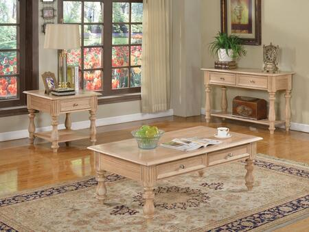 Shantoria 81585CES 3 PC Living Room Table Set with Coffee Table + End Table + Sofa Table in White Washed