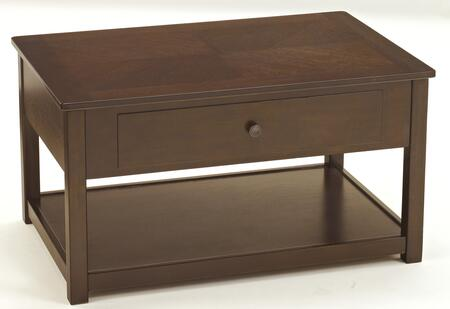 Marion T477-9 36 Lift Top Cocktail Table with Bottom Shelf  One Drawer and Bronze Knob Pull in Dark