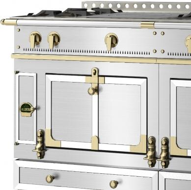 Le Chateau Trim  Custom Trim: Brushed Stainless Steel Trim and Rails  Polished Brass Accent