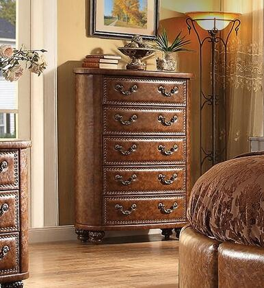 Varda Crescent Collection 25166 38 inch  Chest with 5 Drawers  Pumpkin Bun Feet  Nail Head Accents  Metal Hardware and Brown Faux Leather Upholstery in Antique