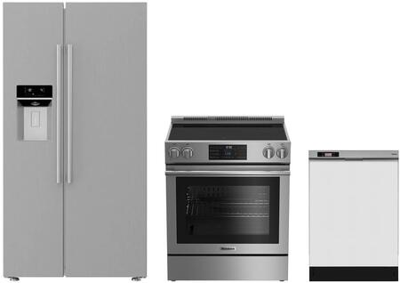 3-Piece Kitchen Package with BSBS2230SS 36 inch  Side by Side Refrigerator  BERU30420SS 30 inch  Freestanding Electric Range  and a free DWT25200SSWS 24 inch  Built In Full