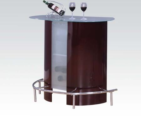 71295 Vindex Bar Table with Glass Top in Wine and Chrome