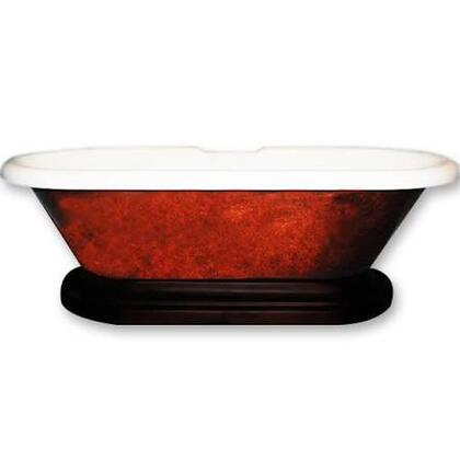 ADEP-CPRBRNZ-ORB-7DH Acrylic Double Ended Pedestal Bathtub 70 inch  x 30 inch  Faux Copper Bronze Finish on Exterior with 7 inch  Deck Mount Faucet Drillings and Oil Rubbed