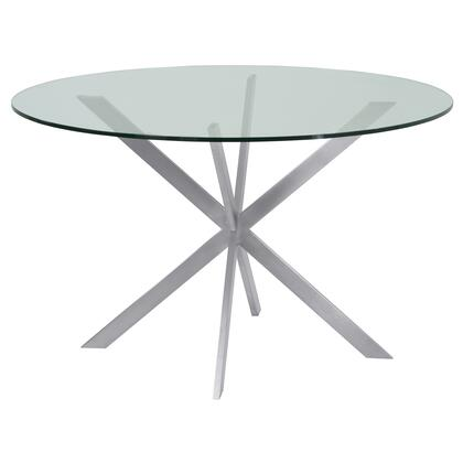Mystere Collection LCMYDITOCLEAR Round Dining Table in Brushed Stainless Steel with Clear Tempered Glass