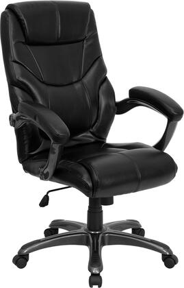 GO-724H-BK-LEA-GG High Back Black Leather Overstuffed Executive Office