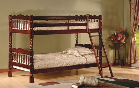 Emma Collection Twin Over Twin Size Bunk Bed with Turned Posts  Ladder Included  Solid Hardwood Construction and Wood Veneer Material in Cherry