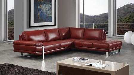 EK-L025 Collection EK-L025L-RED 2-Piece Sectional Sofa with Left Arm Facing Sofa and Right Arm Facing Chaise in