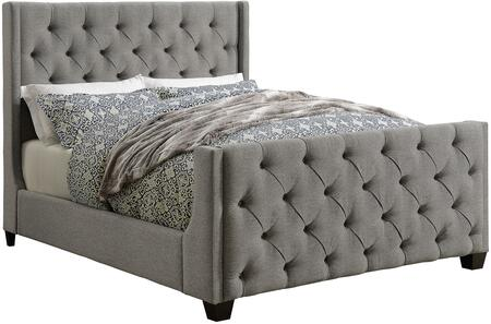 Palma Collection 300708F Full Size Bed with Fabric Upholstery  Button Tufted Panels and Sturdy Wood Frame Construction in