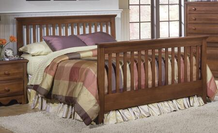 Carolina Crossroads Collection 317450-3-971500 Full Size Bed with Slat Headboard & Footboard and Metal Slat-less Rails in Brown
