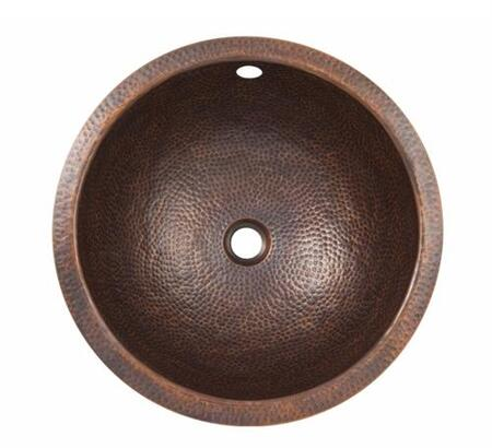 CF147AN Solid Hand Hammered Copper Small Round Self Rimming Lavatory Sink in Antique Copper