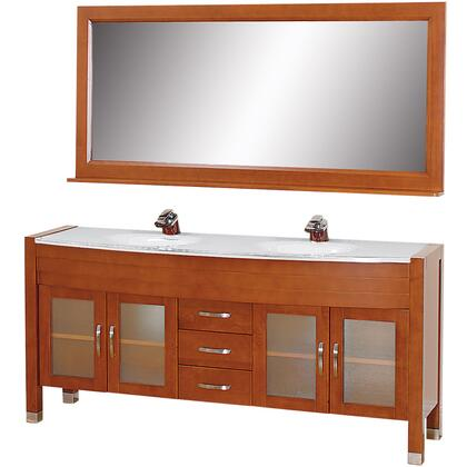 WCV220071CHWH 71 in. Double Bathroom Vanity in Cherry with White Man-Made Stone Top with White Integral Sinks and 70.75 in.