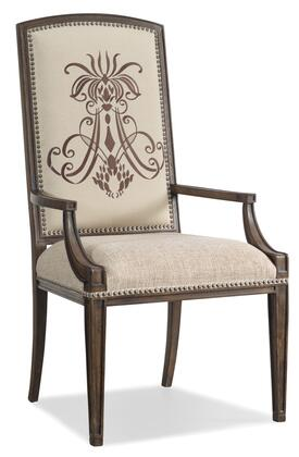 Rhapsody Series 5070-75400 46 inch  Traditional-Style Dining Room Insignia Arm Chair with Nail Head Accents  Tapered Legs and Fabric Upholstery in