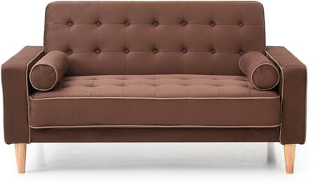 Navi Collection G842A-L 60 inch  Sleeper Loveseat with 2 Bolster Pillows  Tapered Wood Legs  Track Arms  Button Tufted Cushions  Heavy Duty Springs and Micro Suede