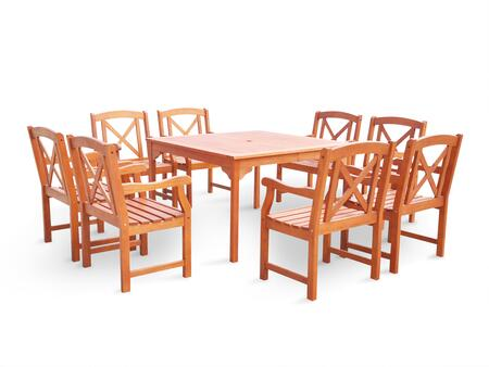 V1401set18 Malibu Eco-friendly 9-piece Outdoor Hardwood Dining Set With Square Table And Arm