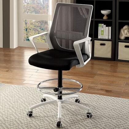 Noely CM-FC646WH Office Chair with Contemporary Style  Armrests  Mesh Back and Cushion Seat  Adjustable Height in