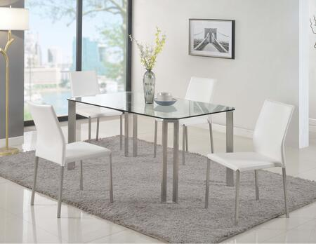 RHONDA-5PC RHONDA DINING 5 Piece Set - Cut-Corner Clear-Tempered Glass Table with 4 White Sleek Back Stackable Side