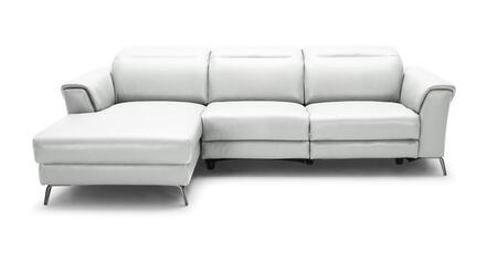 Divani Casa Mosley Collection VGKK5366-WHT 104 inch  2-Piece Leather Reclining Sectional Sofa with Left Arm Facing Chaise and Right Arm Facing Sofa in