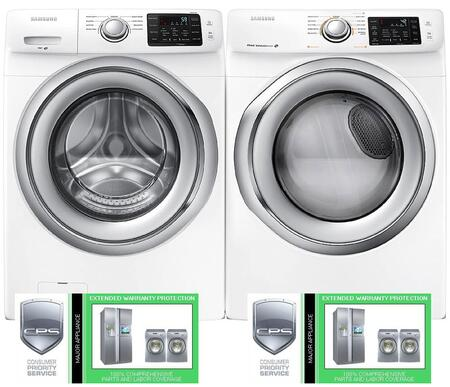 """White Front Load Laundry Pair with WF42H5200AW 27"""" Washer DV42H5200EW 27"""" Electric Dryer and LGAP51000 5 Year On-Site Major Appliance"""