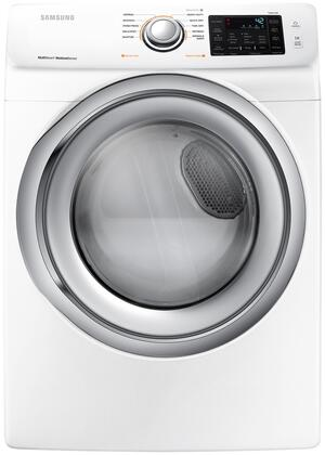 Samsung DVE45N5300VW  27 Inch Smart Electric Dryer with 7.5 cu. ft. Capacity, 10 Dry Cycles, 4 Temperature Settings, Steam Cycle, SmartCare, Sensor Dry, Child Lock in White