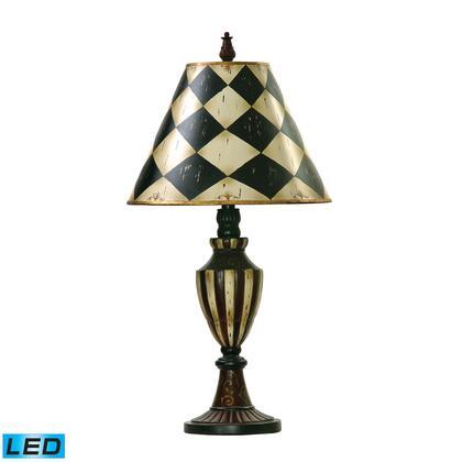 91-342-LED Harlequin & Stripe Urn LED Table Lamp in Black and Antique