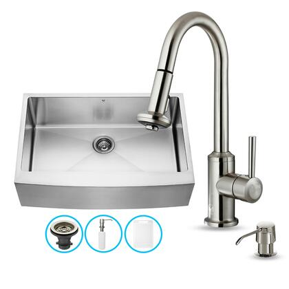 "VG1509533"" Stainless Steel Kitchen Sink Set with 16.75"" Stainless Steel Faucet  Pull-Out Spray Head  Faucet  Grid  Embossed VIGO Cutting Board and Soap"