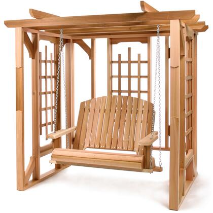 PO72-S 84 Cedar Pergola Swing Set with Heavy Seat Supports  Hanging Chain  Wide Arm Paddles and Lattice