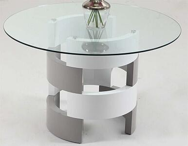 SUNNY-DT Sunny Dining Table with Tempered Glass Top and Open Cylinder Base in White and