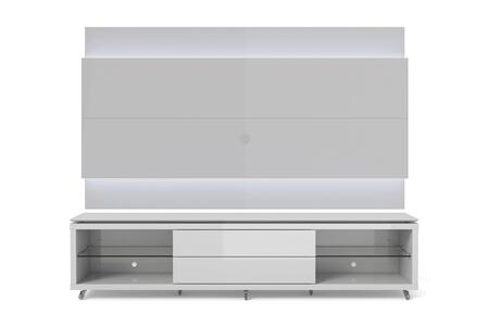 "Lincoln 2.4 Collection 2-1745284152 85"" TV Stand and TV Panel with LED Lights 4 Shelves and Silicone Wheels in White thumbnail"