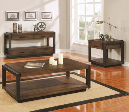 Sawyer Collection 705658SET 3 PC Living Room Table Set with Coffee Table + Sofa Table + End Table in Vintage Bourbon