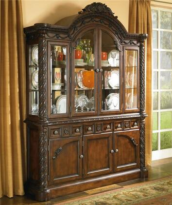 D5538081 North Shore Buffet with Hutch  Furniture Grade Resin  Framed Drawer Fronts and FeltLined Flatware Tray with Dust Cover in Opulent