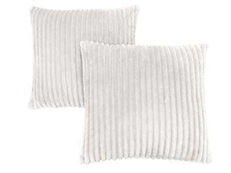 I 9351 18 inch  x 18 inch  Pillow with Textured Rib Cover in Ivory - 2