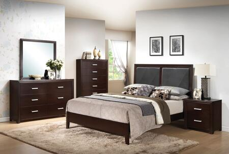 Ajay Collection 21420Q5PC Bedroom Set with Queen Size Bed + Dresser + Mirror + Chest + Nightstand in Espresso