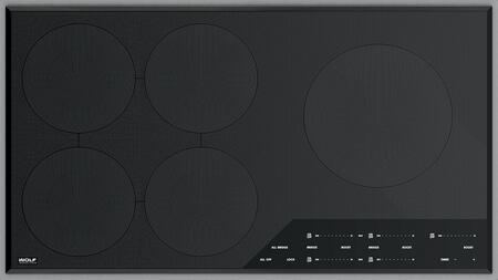 CI365TF/S 36 inch  Transitional Framed Induction Cooktop with 5 Induction Elements  Front Controls  and Black Ceramic Glass Surface  in Stainless