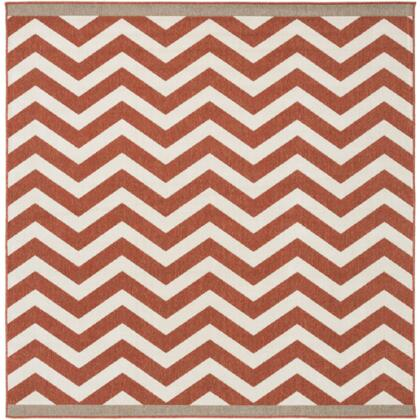 Alfresco ALF9647-73SQ 7'3 inch  Square 100% Polypropylene Rug with Low Pile  Loop Texture  and Machine Made in Egypt in Cherry and