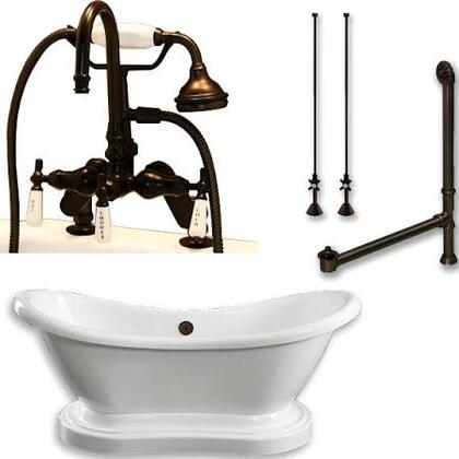 ADES-PED-684D-PKG-ORB-7DH Acrylic Double Ended Pedestal Slipper Bathtub 68 inch  x 28 inch  with 7 inch  Deck Mount Faucet Drillings and Complete Oil Rubbed Bronze Plumbing