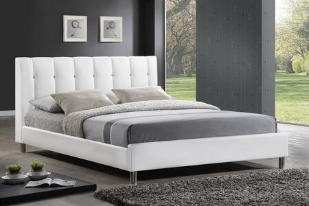 BBT6312-WHITE-FULL Baxton Studio Vino Full Size Modern Bed With Upholstered Headboard In