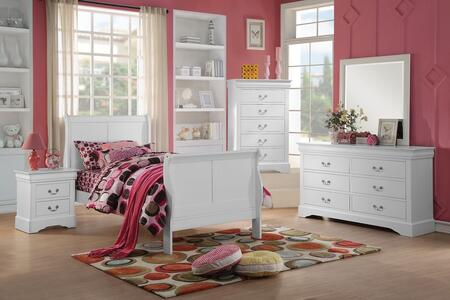Louis Philippe III 24515T5PC Bedroom Set with Twin Size Bed + Dresser + Mirror + Chest + Nightstand in White