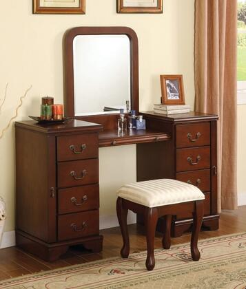 06565VSM Louis Philippe Vanity and Stool + Mirror in Brown