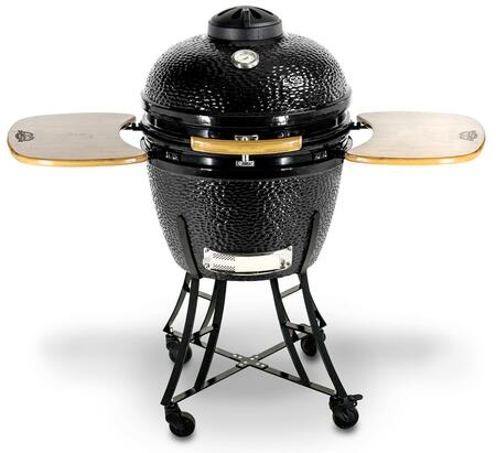 71220 Ceramic Series K22BK 22 inch  Kamado Charcoal Barbecue Grill with 570 sq. in. Total Cooking Area  Heavy Ceramic Body  Two Fold-down  Laminated Bamboo Side