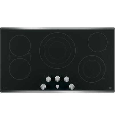 "GE Profile Series 36"" Built-In Electric Cooktop Stainless Steel-on-Black PP7036SJSS"
