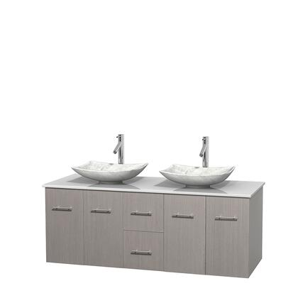 Wcvw00960dgowsgs6mxx 60 In. Double Bathroom Vanity In Gray Oak  White Man-made Stone Countertop  Arista White Carrera Marble Sinks  And No