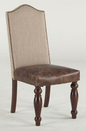 Emilia Zwei63tldl 20 Dining Chair With Nail Head Trim  Tan Linen Upholstered Back And Distressed Brown Leather Seat Upholstery In Brown