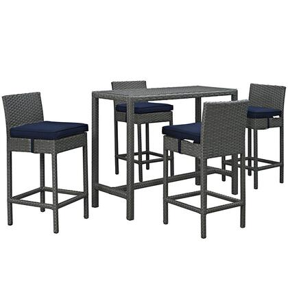 Sojourn Collection EEI-1968-CHC-NAV-SET 5-Piece Outdoor Patio Pub Set with Powder Coated Aluminum Frame  Synthetic Rattan Weave Material and Sunbrella Fabric