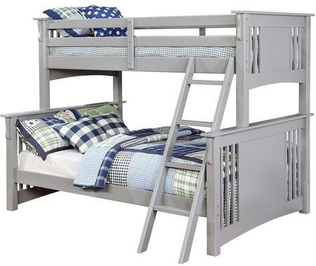Spring Creek Collection CM-BK602F-GY-BED Twin Over Full Size Bunk Bed with Angled Ladder  10 PC Slats Top/Bottom  Solid Wood and Wood Veneer Construction in
